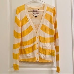 Volcom Striped Button Cardigan Yellow